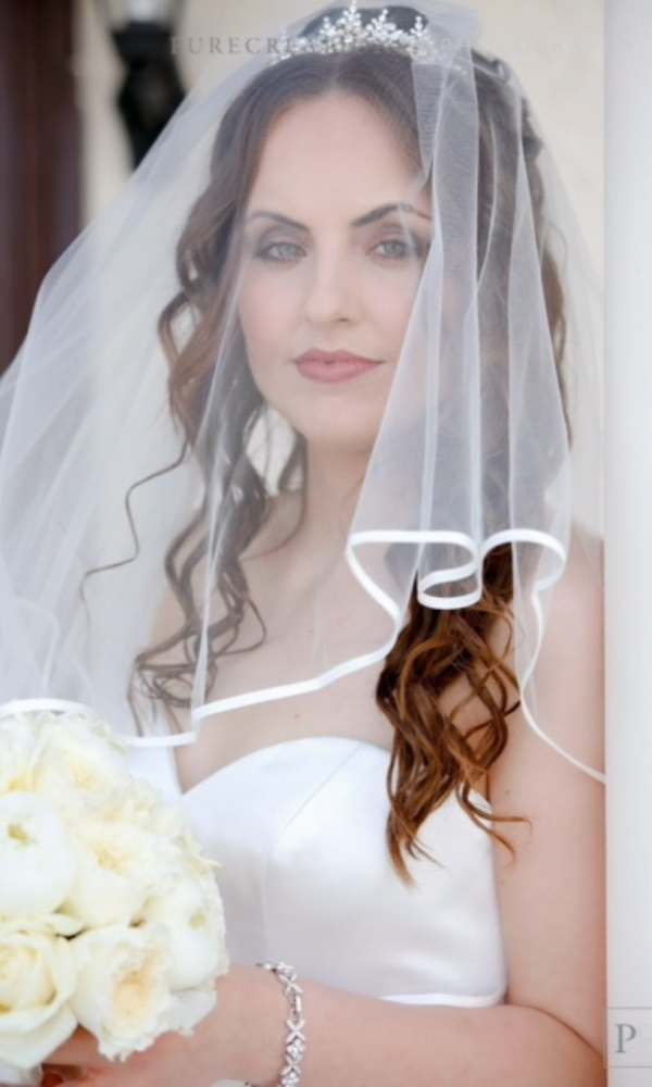 "Two tier ribbon edge 72"" Veil"